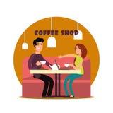 Giovani coppie felici che lavorano nella caffetteria illustrazione vettoriale