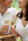 Giovani coppie felici con i vetri di vino bianco Fotografie Stock Libere da Diritti