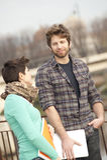 Giovani coppie felici degli allievi Immagini Stock