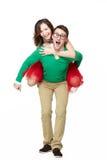 Giovani coppie felici dei nerd immagini stock