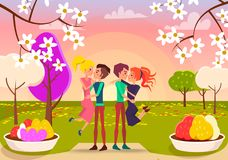 Giovani coppie felici nella bella illustrazione del parco illustrazione di stock