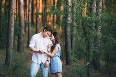 Giovani coppie nel legno Fotografia Stock