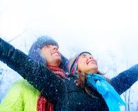 Giovani coppie nella sosta di inverno Fotografie Stock Libere da Diritti
