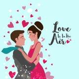 Giovani coppie per la celebrazione di giorno del ` s del biglietto di S. Valentino illustrazione vettoriale