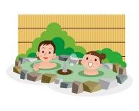 Giovani coppie quel bagno nella sorgente di acqua calda Immagini Stock Libere da Diritti