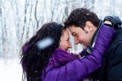 Giovani coppie romantiche nella sosta di inverno Immagine Stock Libera da Diritti