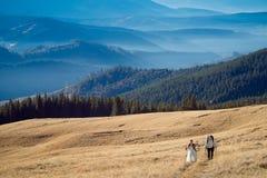 Giovani coppie turistiche di nozze che viaggiano nelle alpi honeymoon Fotografie Stock