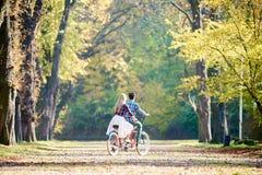 Giovani coppie, uomo bello e donna attraente sulla bici in tandem nel parco o nella foresta soleggiato di estate immagine stock