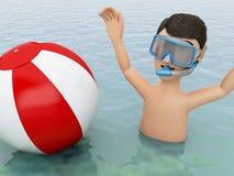 giovani 3d con beach ball in acqua Fotografia Stock Libera da Diritti