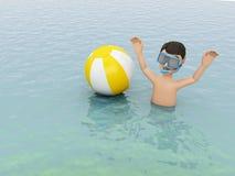 giovani 3d con beach ball in acqua Fotografie Stock