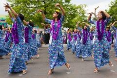 Giovani danzatori al festival 2012 dell'acqua in Myanmar Fotografia Stock