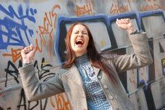 giovani disperati gridanti della donna di aria aperta Immagine Stock Libera da Diritti