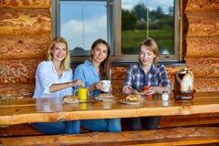 Giovani donne che bevono tè fotografie stock