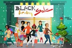 Giovani donne che escono dal supermercato con acquisto sulla d Immagine Stock Libera da Diritti