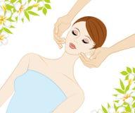 Giovani donne che ricevono il massaggio di fronte royalty illustrazione gratis