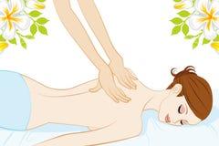 Giovani donne che ricevono indietro il massaggio royalty illustrazione gratis