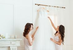 Giovani donne con il vestito da sposa Immagine Stock Libera da Diritti