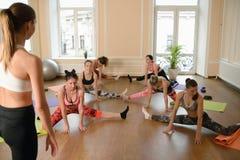 Giovani donne del gruppo che allungano e yoga di pratiche Immagine Stock
