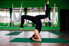 Giovani donne del ritratto che fanno gli esercizi antigravità di yoga Allenamento aereo aereo dell'istruttore di forma fisica del Immagine Stock Libera da Diritti