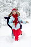 Giovani donne esterne in inverno Fotografia Stock Libera da Diritti