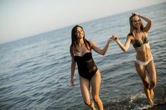 Giovani donne graziose divertendosi dal mare fotografia stock libera da diritti