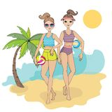 Giovani donne sveglie dell'illustrazione due di vettore sulla spiaggia di estate con la palla di pallacanestro fotografie stock