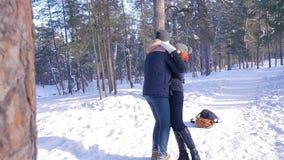 Giovani e belle coppie nell'amore che cammina nel legno di inverno archivi video