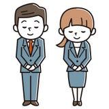 Giovani e donne che si piegano, immagine di affari royalty illustrazione gratis
