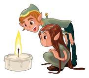 Giovani elfs con una candela. Fotografia Stock