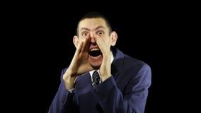 Giovani emozioni dell'uomo di affari, grido stock footage