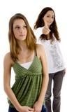 Giovani femmine con i pollici in su Fotografia Stock Libera da Diritti