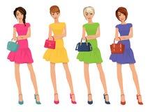 Giovani figure sexy moderne delle ragazze di compera con l'illustrazione di vettore isolata borse di modo di vendita illustrazione di stock