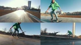 4 in 1: Giovani giri del skateboarder nel parco archivi video