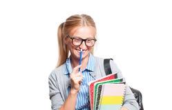 Giovani libri felici della holding della ragazza dell'allievo Di nuovo al banco Fotografie Stock Libere da Diritti