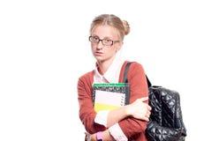 Giovani libri felici della holding della ragazza dell'allievo Di nuovo al banco Fotografia Stock Libera da Diritti