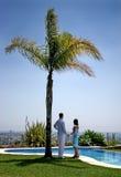 Giovani mani della holding delle coppie sotto una palma al sole. Fotografia Stock