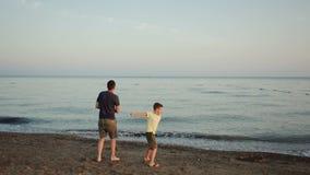 Giovani padre e figlio sulla spiaggia stock footage