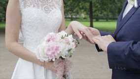Giovani persone appena sposate che camminano fuori La sposa e lo sposo camminano insieme nel parco nell'inverno o l'estate e tene Fotografie Stock