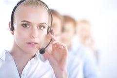 Giovani persone di affari e colleghi positivi attraenti in un ufficio della call center businesspeople Fotografia Stock