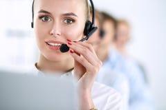 Giovani persone di affari e colleghi positivi attraenti in un ufficio della call center businesspeople Immagini Stock