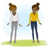 Giovani ragazze di afro del fumetto di modo di estate Immagini Stock Libere da Diritti