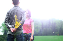 giovani romantici delle coppie Fotografia Stock