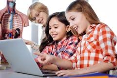 Giovani signore adorabili che leggono qualcosa sul computer portatile Fotografia Stock Libera da Diritti