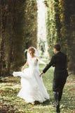Giovani sposa e sposo alla moda di lusso sulla molla s del fondo fotografia stock libera da diritti