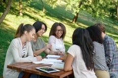 Giovani studenti che si siedono e che studiano all'aperto mentre parlando Immagini Stock