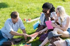 Giovani studenti multietnici che parlano insieme e che studiano nel parco Immagini Stock