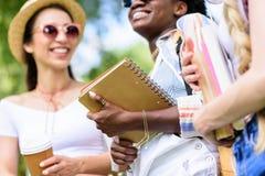 Giovani studenti multietnici che tengono i libri e che parlano nel parco Fotografia Stock