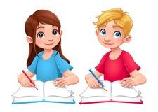 Giovani studenti ragazzo e ragazza con i libri e le matite Fotografie Stock