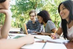 Giovani studenti sorridenti che si siedono e che studiano all'aperto Immagine Stock
