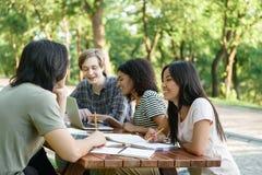 Giovani studenti sorridenti che si siedono e che studiano all'aperto Immagini Stock